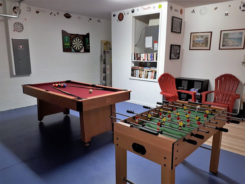 Games room with Pool, snooker, foosball, darts & board games